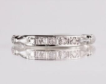 Antique Wedding Band - Antique 1930s 18K White Gold Diamond Wedding Band