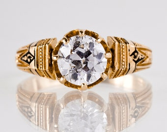 Antique Engagement Ring - Etruscan Diamond Ring - Rose Gold and Diamond Engagement Ring