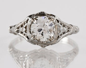 Antique Engagement Ring - Antique 1920s 18k White Gold and Diamond Filigree Engagement Ring
