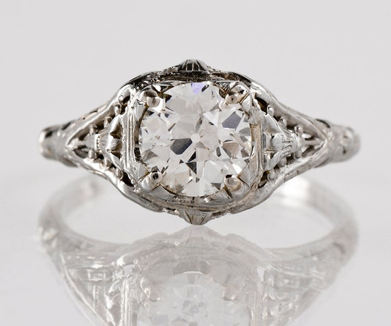 antique engagement ring antique 1920s 18k white gold and
