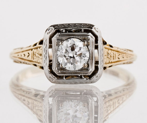 antique engagement ring antique 1920s 14k yellow white. Black Bedroom Furniture Sets. Home Design Ideas
