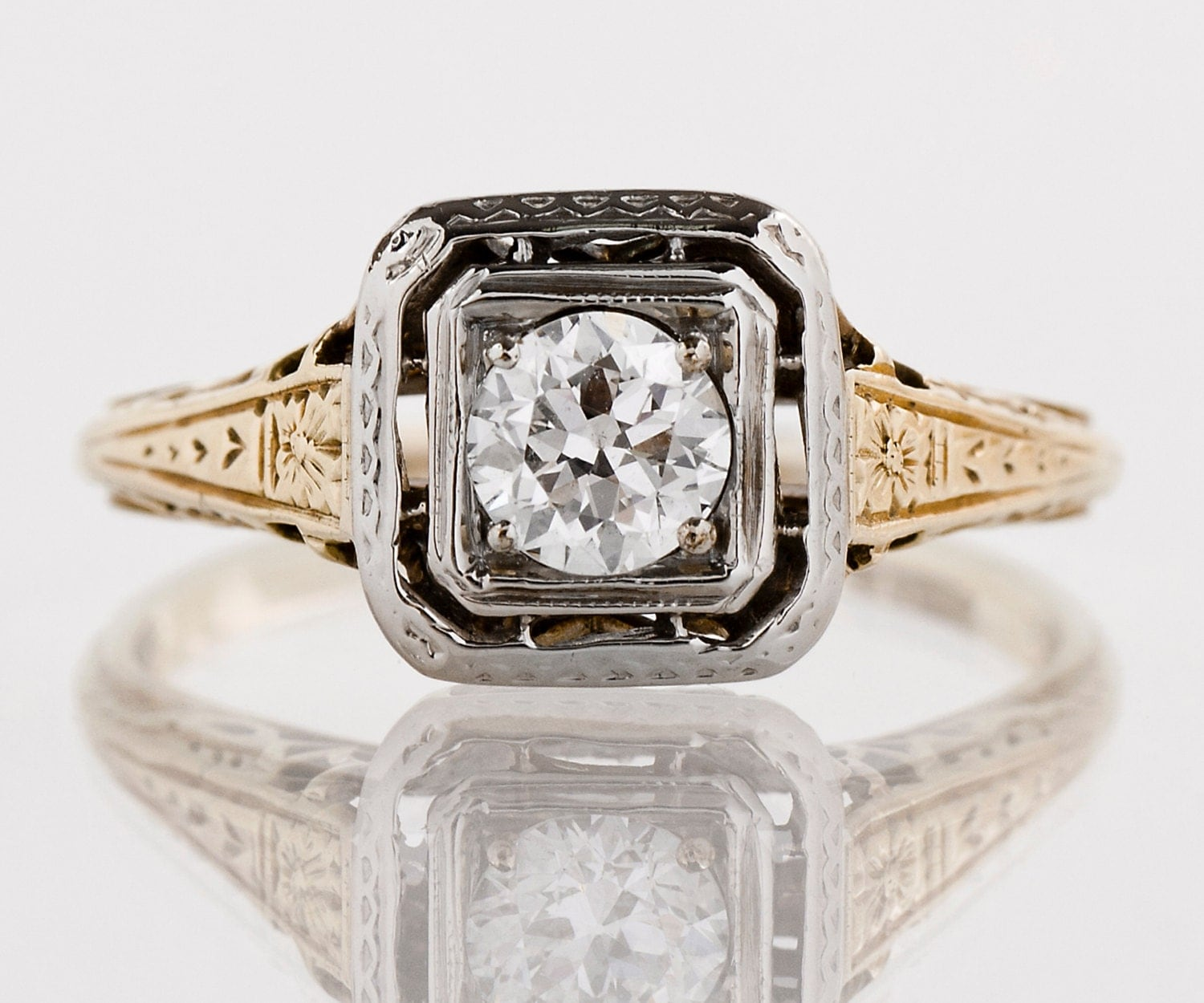 Antique Engagement Ring Antique 1920s 14k Yellow & White