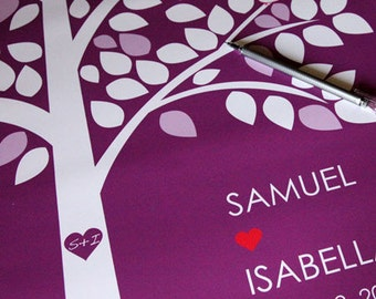 Personalised Wedding Tree Guest Book Alternative Poster - 18 x 24 in - 45-100 Signatures - Canvas or Paper - Free Gift with Purchase