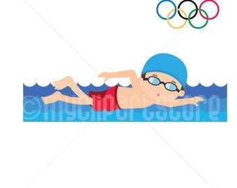 Clipart - Summer Olympics Clipart / Swimming / Olympic Games / Boy Swimmer (Single Clipart Image) - Digital Clip Art (Instant Download)