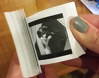 Your First Kiss Made Into Animated Flip Book.  One Year Anniversary / First Anniversary Paper Gift for Him or Her