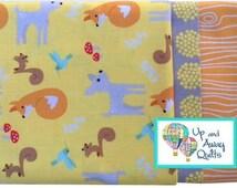 Pillowcase Kit - Good Natured Yellow Forest Animals - Fox, Deer, Squirrel