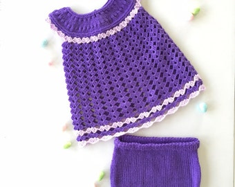 Baby girl dress,outfit,crochet,knit,purple,3 months,6 months,handmade,photo prop outfit,knitted baby gift,baby shower gift,layette set,