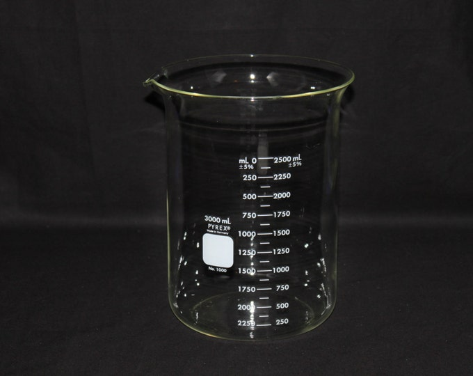 LARGE 3000 mL Pyrex Beaker, Corning #1000 Made in Germany, Vintage