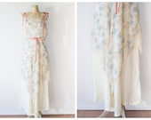 RESERVED!!!!!!!!!!!!!Vintage Floral Maxi Dress - Cream 1970's Maxi Gown with Pastel Floral Print - 1970's Floral Hippie Dress - Size Small