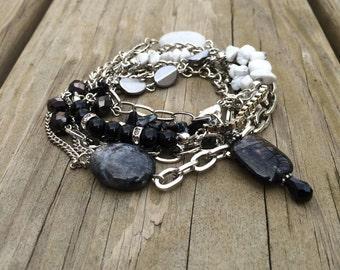 Wrap Bracelet, Silver Black White, 3 Wrap, Rutilated Quartz, Labradorite, Marble