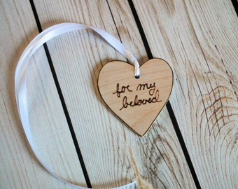 """Wooden heart tags with """"for my beloved,"""" wooden gift tags, sweetheart gift tags"""