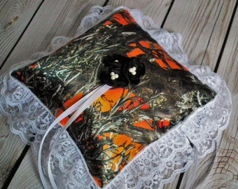 BLAZE ORANGE camo ring bearer pillow with ivory lace trim and black satin flowers, camouflage hunter wedding decor ~ custom colors available