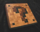 Wood Pixel Art - Cutting Board - 8-Bit Mario Coin Block