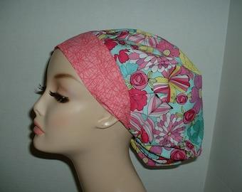 Mod Flowers Teal Aqua Pink Bouffant OR Scrub hat Surgical