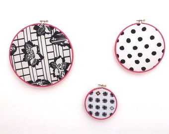 Vintage FABRIC Hoop Art / Instant Wall Collection / 3 Piece Black White Pink TEXTILE Wall Hangings