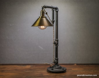 Industrial Table Lamp - Edison Bulb Lamp - Table Lamp - Pendant Lamp - Antique Brass Shade - Desk Lamp - Rustic - Iron Pipe - Barn Light