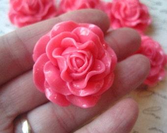 Large Rose Cabochon / Dark Pink / 31mm / 3 pcs / Resin Flower Cabochon / Necklace Focal / Flat Backs / No Holes