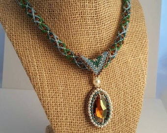 Eye of the Ocean Bead Embroidered Necklace & Pendant
