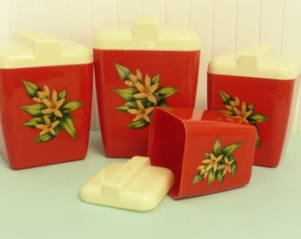 1950s Burrite Burroughs Canister Set, Cherry Red Plastic with Tropical Flowers, Nesting  - Vintage Travel Trailer and Home Decor