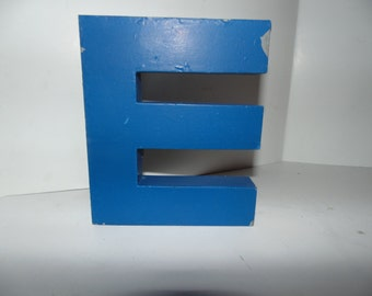 "Vintage Industrial Metal Marquee Letter E 6"" Wall Art Salvaged Decor Blue"