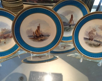 Antique Plates/4 Display Plates/Minton/22 Kt Gold Trim Beading /Grisaille Hand Painted Topography/Landscape/Turquoise Border/Cabinet Display