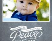Chalkboard PEACE Christmas Card - Photo Christmas Card