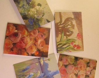 Sally Chupick Floral Art Cards, 5 variety pack, 4 x 6 artist flower cards