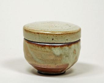 Shino glazed lidded pot