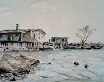 Watercolor painting. 19x13''. Landscape. Lake