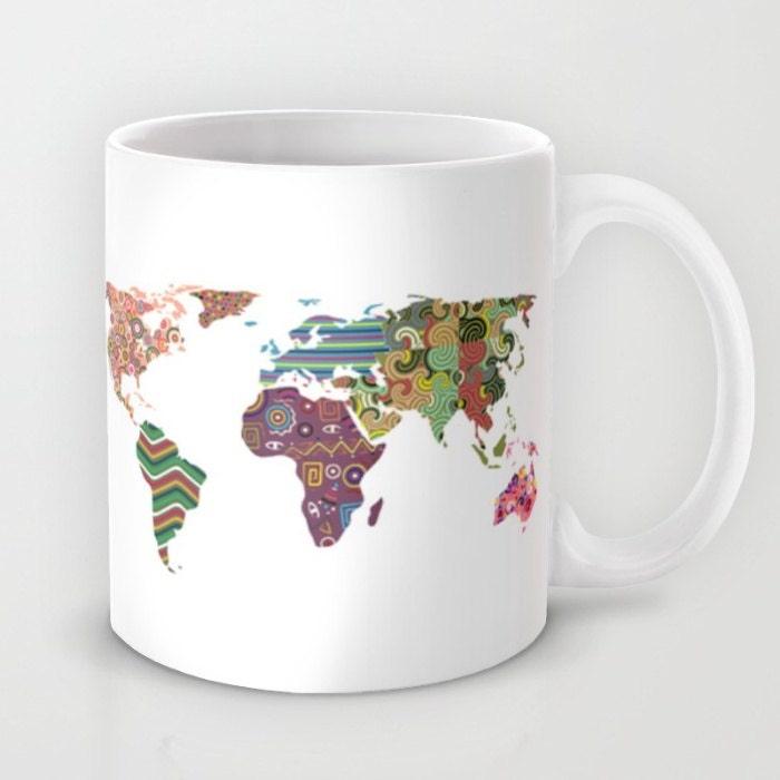 World Map Mug Tea Mug World Map Travel Mug Travel