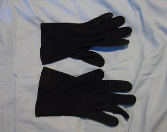 Black kidskin gloves mint condition 7 3/4 by 3 inches