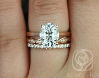 Rosados Box Skinny Lois 10x8mm,Ember, Tiffani 14kt Rose Gold Oval F1- Moissanite and Diamond TRIO Wedding Set
