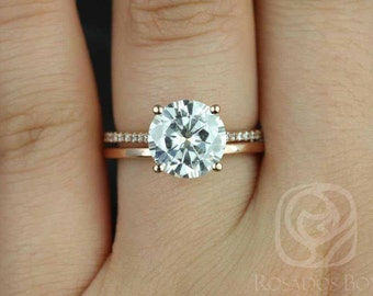 Rosados Box DIAMOND FREE Eloise 9mm & Plain Band 14kt Rose Gold F1- Moissanite and White Sapphire Cathedral Wedding Set
