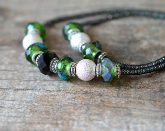 Sparkly green crystal bling & silver stardust necklace Long black woven chain necklace Double strand layer necklace Special occasion jewelry