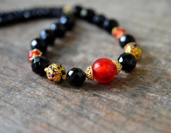 Multicolor Murano glass necklace Black onyx necklace Semi precious stone necklace Venetian glass bead necklace Single strand Office jewelry