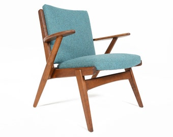 Danish Mid Century Modern Oak Paddle Arm Lounge Chair by Arne Wahl Iversen