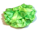 Christmas Diaper Cover ,Lime Green Ruffled  Baby Diaper Cover with Rhinestone Embellishmen on Bow