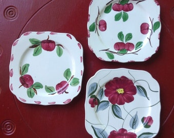 Blue Ridge Pottery Plates Bread Dessert Handpainted Southern Pottery Farmhouse Cottage Vintage Dishes Red Fruit Green Leaves Red Flower