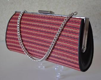 Vintage Japanese handbag or clutch purse, 1970s vintage straw kimono bag