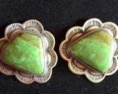 Green Turquoise, Native American Sterling Earrings, Signed, gift box
