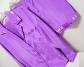 Victoria Secret Liquid Satin Boyfriend Sleep Shirt with Tap Pants Warm Lilac Orchid Summer Resort Cruise Wear