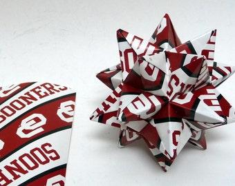 Medium Origami Star Made From Licensed Oklahoma Sooners Paper, Oklahoma Ornament, Christmas Ornament