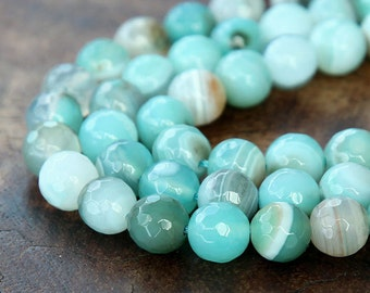 Faceted Dyed Agate Beads, Aqua Blue Striped, 8mm Round - 15 inch strand - eGR-AG58118-8