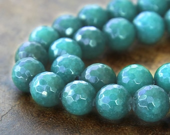 Faceted Jade Beads, Dark Teal, 10mm Round - 15 inch strand - eJFR-G07-10