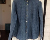 Shirt and shipping  invoice UK for Dawn Vintage ralph lauren cotton blue washed denim look blouse, long sleeve xl blouse