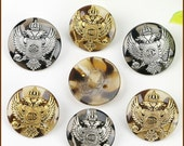 6 Pcs 0.59~0.91 Inches High-grade Gold/Silver Eagle Crown Metal Resin Shank Buttons For Coats Sweaters