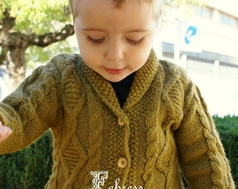 ALPACA jacket, 2 to 3 years old, hand knitted sweater,cardigan, baby, honey, Ready to ship. Febress baby