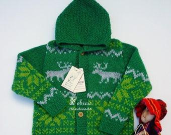 ALPACA jacket 2-3-4 years old, jacquard jacket hood, hand knitted sweater, emerald green, Christmas reindeer.
