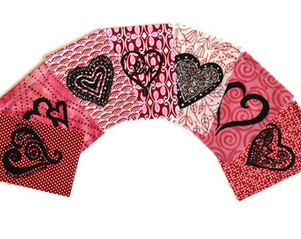Hearts and Love (Made with hand carved block prints)(small) Prayer Flags