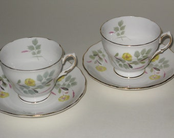 Pair of Royal Vale Flowered Bone China Tea Cups and Saucers with Yellow Buttercups